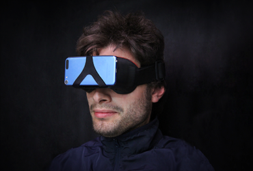 Man wearing sports VR headset
